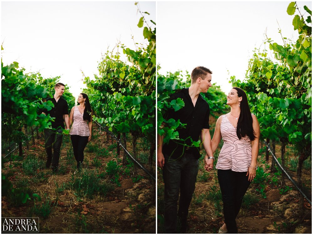 Walking amongst the wineyard, Engagement session Orcutt Hills by Andrea de Anda Photography