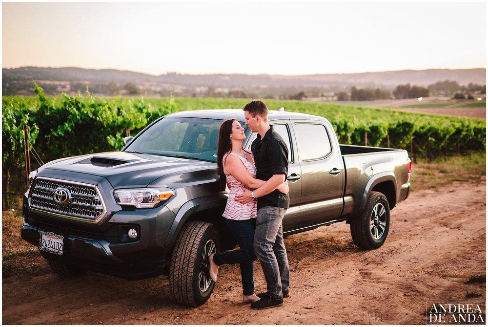 Truck in the vineyard Engagement session Orcutt Hills by Andrea de Anda Photography