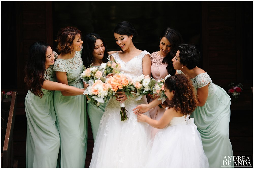 Bride and Bridesmaids photo session before ceremony