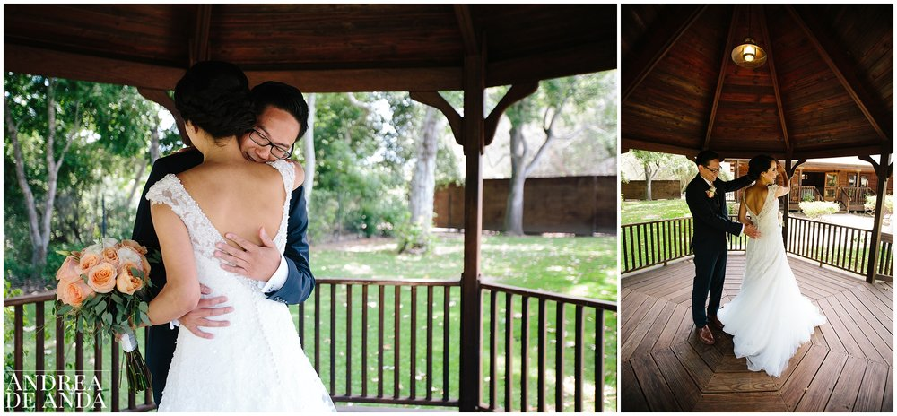 Bride and Groom's First Look at the gazebo in Lion's park Carpinteria