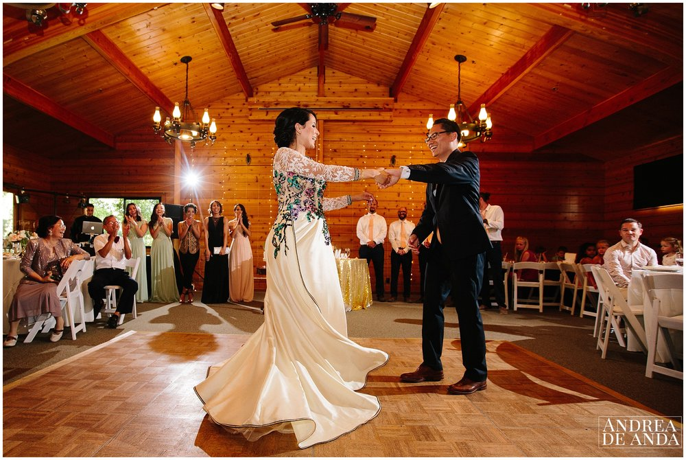 Wedding reception, Bride and Groom's first dance at Lion's Park Carpinteria