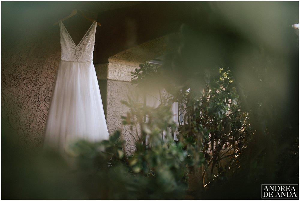 Wedding dress proped at the venue