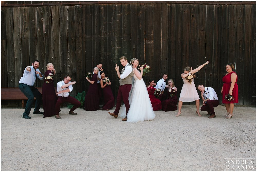 Bridal Party funny photo session at Dana Powers house and barn