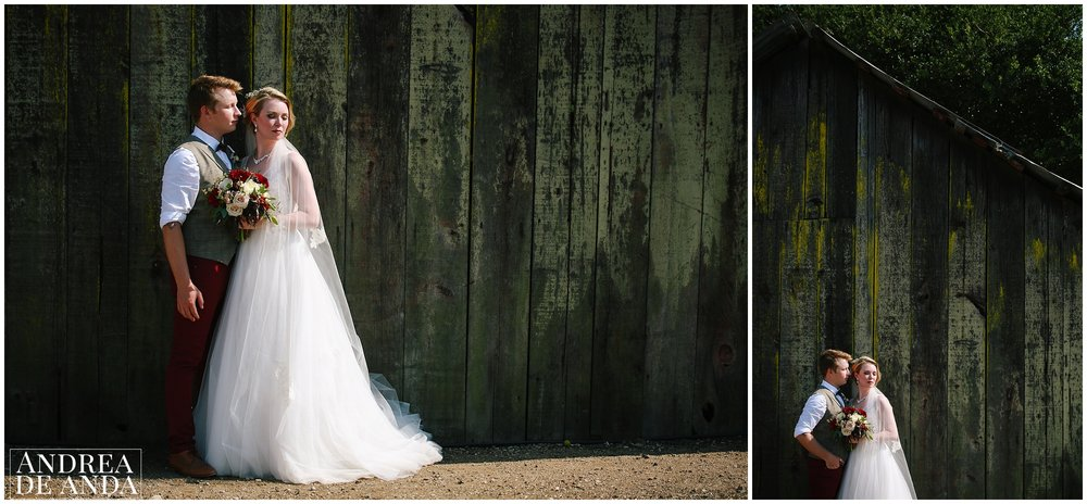 Bride and Groom creative photo session at the barn Dana Powers house and barn