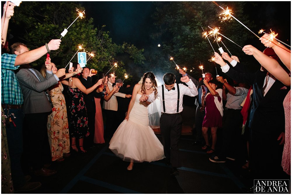 Sparkler exit Madonna Inn wedding. San Luis Obispo Wedding Photographer