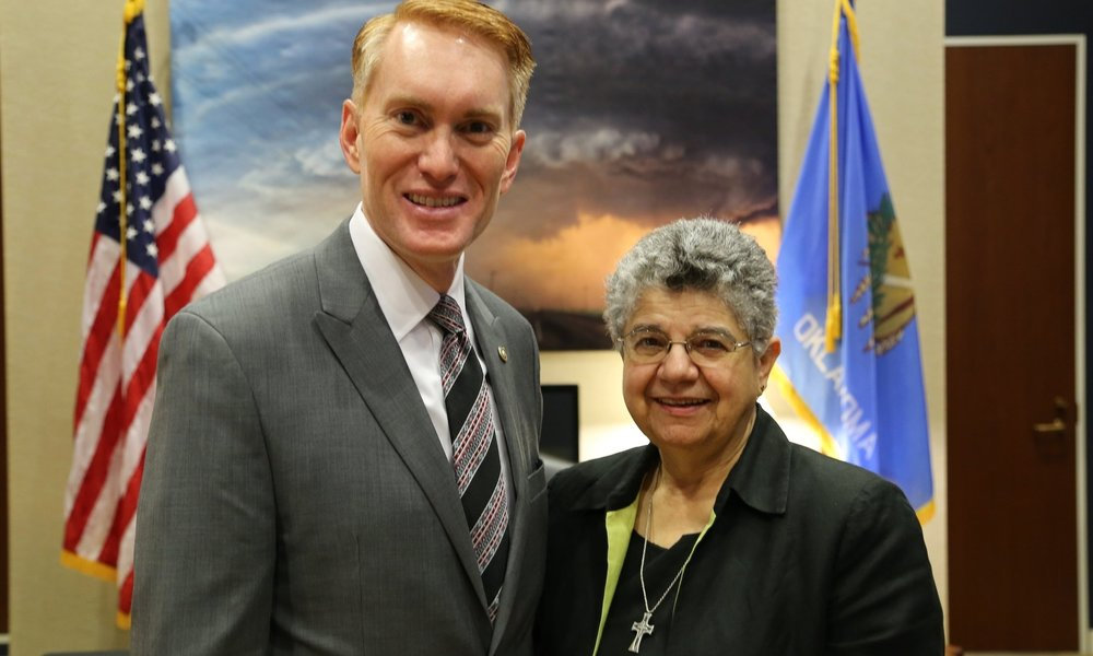Photo: Senator James Lankford (R-OK) with Sister Diane Koorie, RSM, of Oklahoma City in October 2017. Photo Credit: Catholic Relief Services