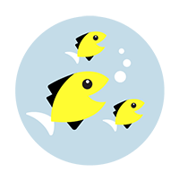 School of fish with tennis bubbles -group tennis