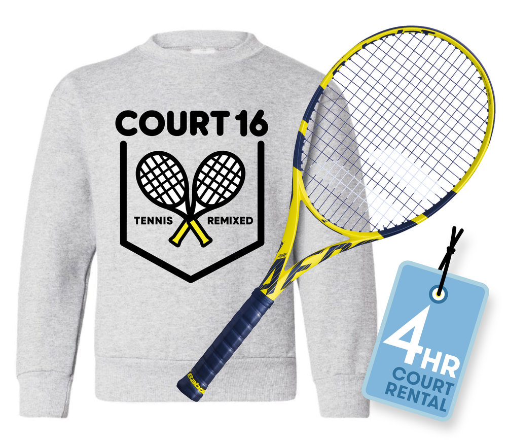 Racket, backpack, and 4 hour court rental badge