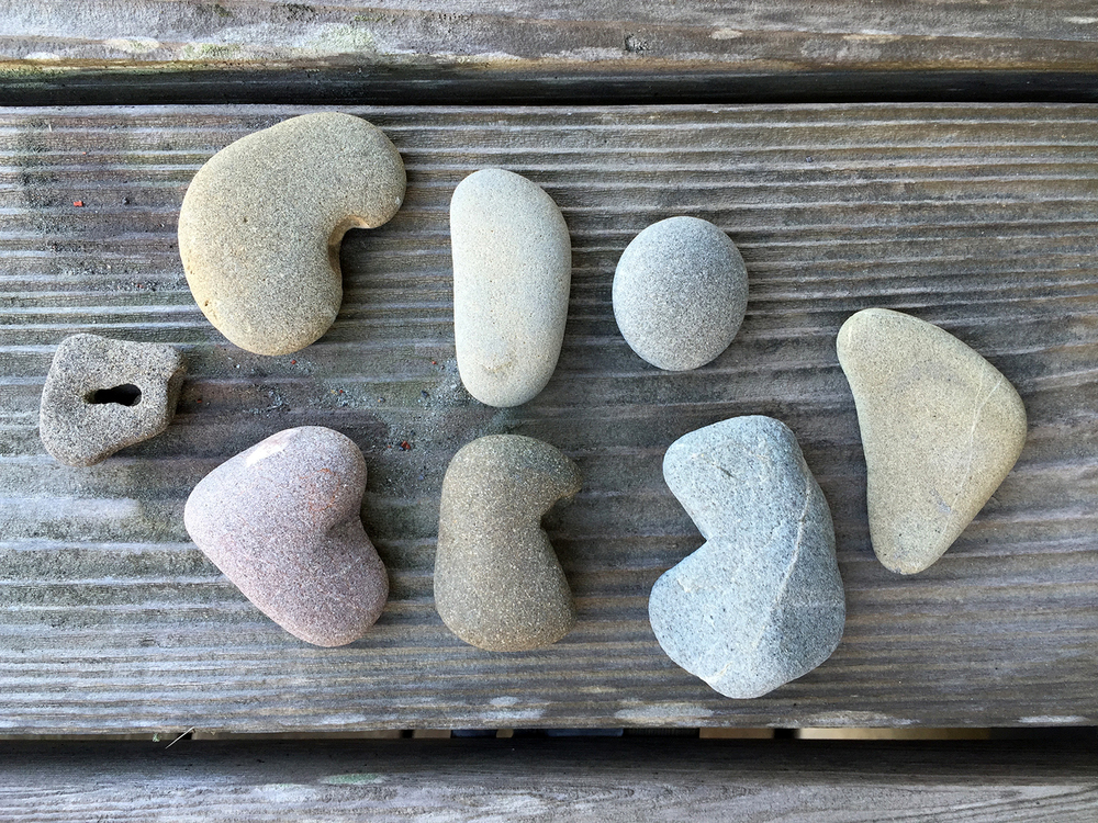 On the back deck: rock collection