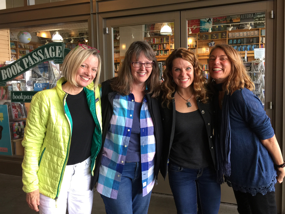 Wednesday at the Ferry Building, a few Beach Lane writing buds met for lunch. The only problem being that we forgot to eat lunch. That's me,  Deborah ,  Meg , and  Dashka .