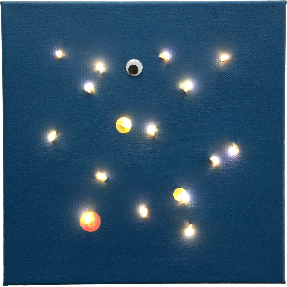 "See What Is In the Stars      acrylic on canvas, googly eye, Christmas LED's     8"" x 8"""