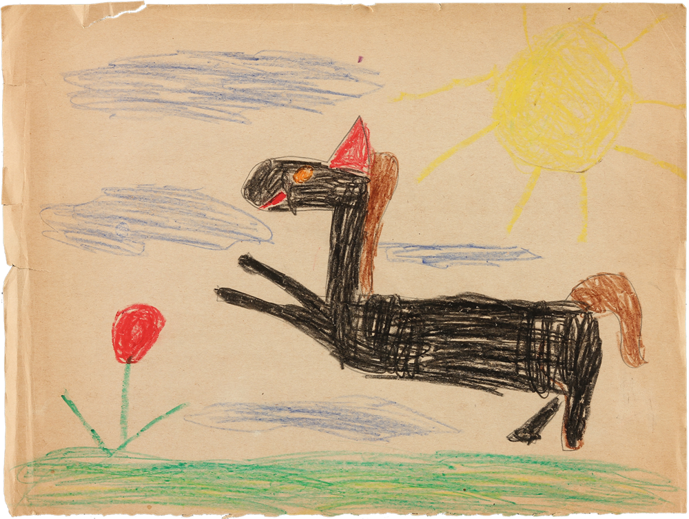 "crayon on paper   9"" x 12""   1967"