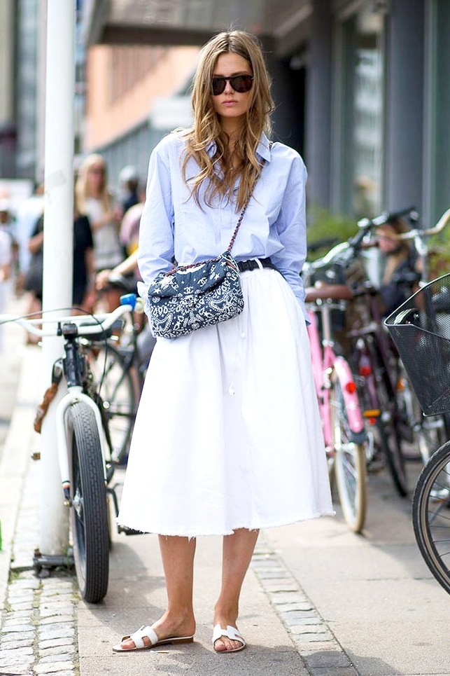 Le-Fashion-Blog-Model-Off-Duty-Street-Style-Caroline-Brasch-Nielsen-Blue-Shirt-Chanel-Bandana-Bag-Hermes-H-Sandals-White-Midi-Skirt.jpg