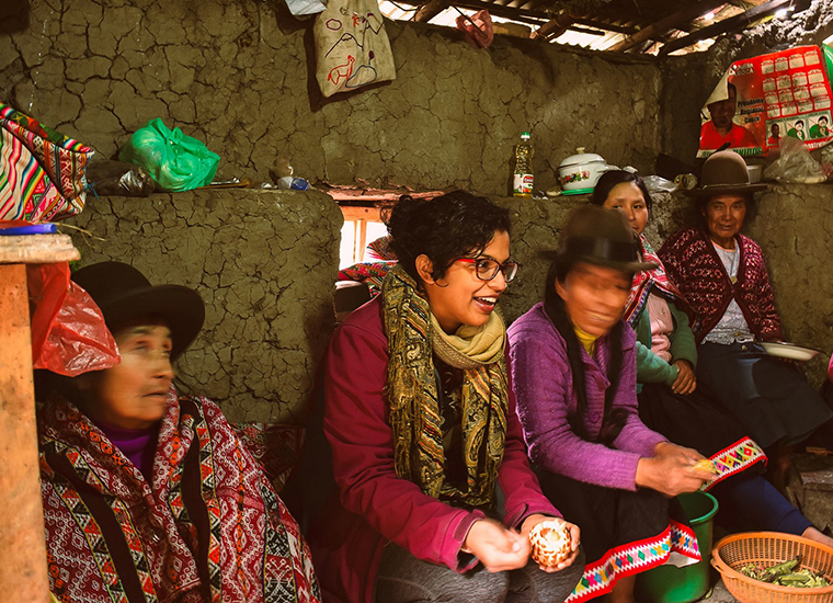 Alma with Quechuan women weavers | Photo by Rock + Pillar