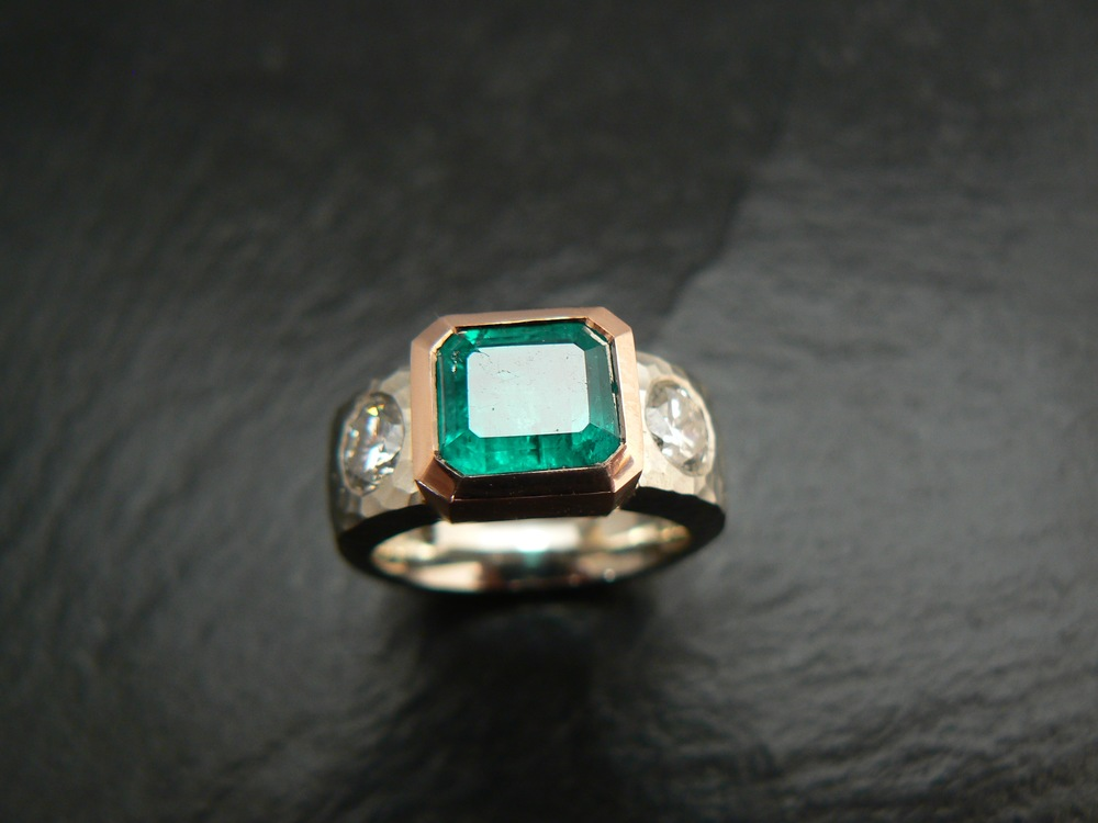 Her grandmothers emerald and diamond ring re-designed into something she loves!