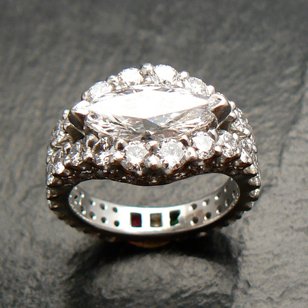 Ladies 2 carat D Flawless marquise upgrade, and custom ring.