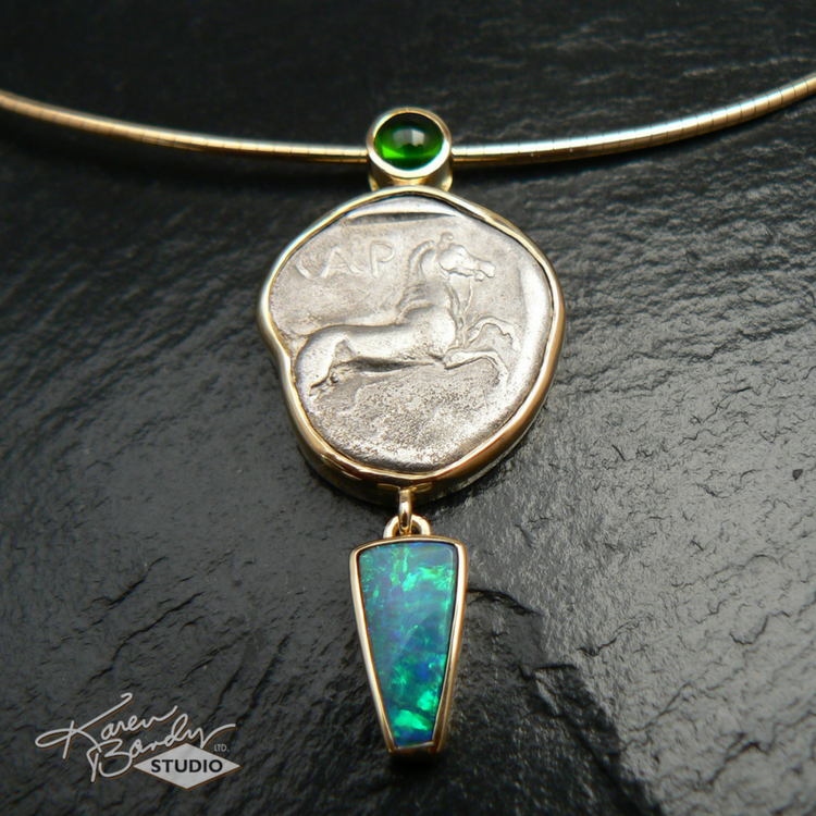 Finished! Ancient Greek coin pendant. (to see the backside  click here )