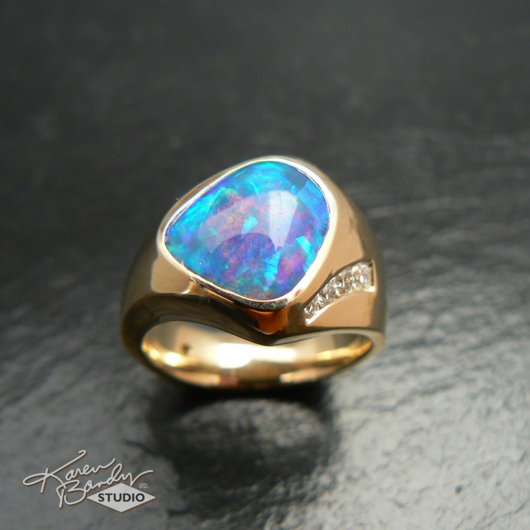 Queensland opal ring with diamonds