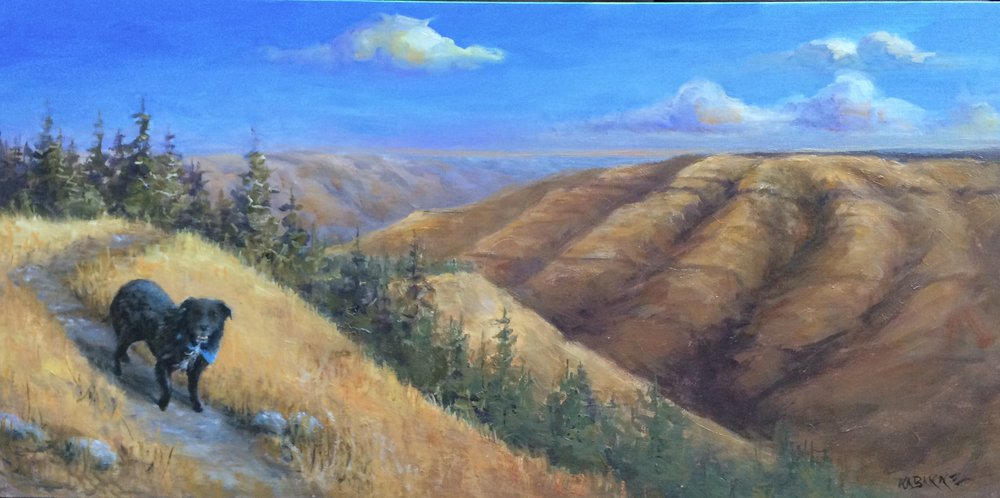 Gus   (painted into a landscape)  Dear Karen,   I have had the painting of Gus for over a month now and I want you to know it is a true joy to have it in my home office … Thank youfor creating such a treasure for me. - Lou Martin