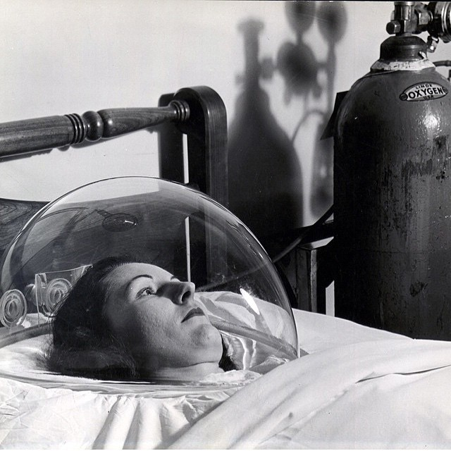 "#TBT This is from the April 23rd 1945 cover of @life magazine. It was a story about a new futuristic kind of #plastic with ""memory"" called #Plexiglas This is a photo of it being used in a hospital in which oxygen was fed into the plastic tent surrounding the patients head. #MaterialOfTheFuture"