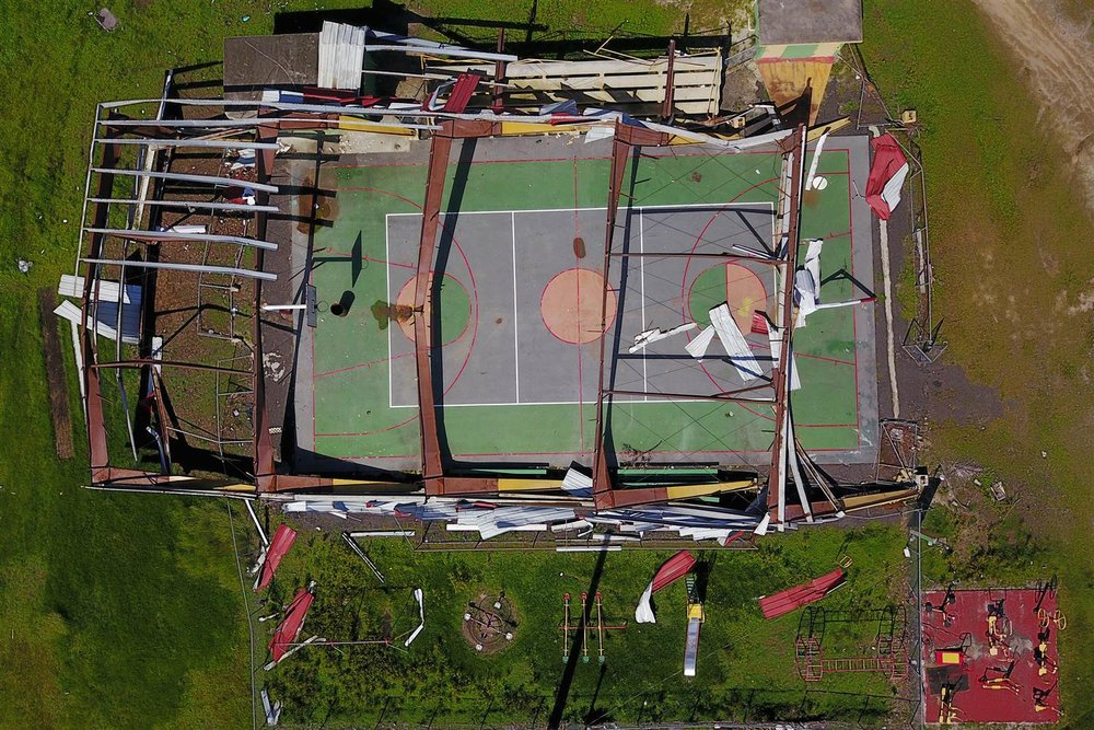 The roof of a basketball court was destroyed in Punta Santiago. Ricardo Arduengo for NBC News