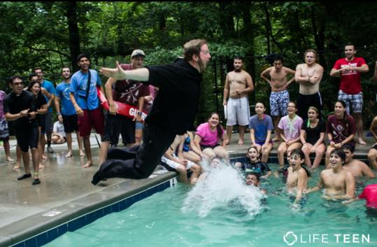 This is the very essence of Brother Peter Francis- no thought of himself, just the hilarious joy every teenager at camp would get out of his full-habit belly flop!