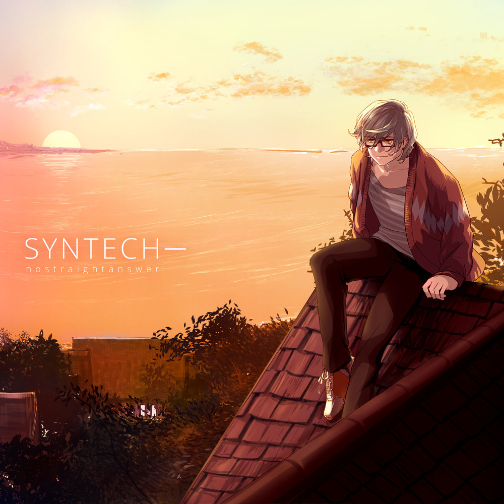 Envoi of Dawn - SYNTECH- is the self-cover side of the SYNTECH project. It primarily features nostraightanswer himself on vocals, a selection of rearrangements and remixes, two exclusive songs, and a different track order for a different listening experience. SYNTECH- was also inspired by requests from nostraightanswer's parents, who prefered listening to their son's voice as opposed to VOCALOID's synthetic voices.