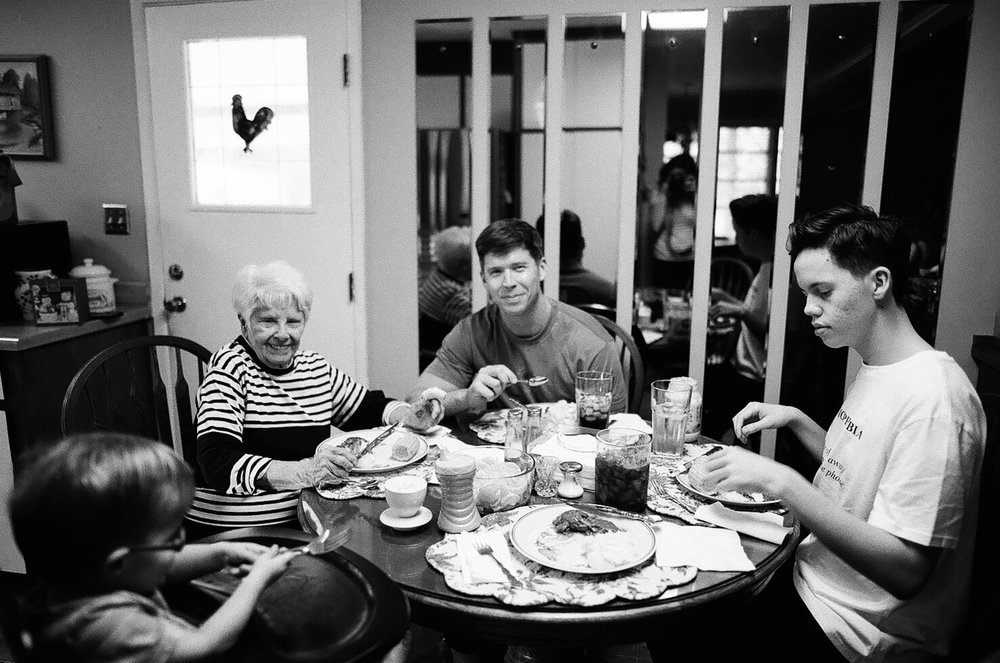 dinner with grandma jean. shot on tri-x.