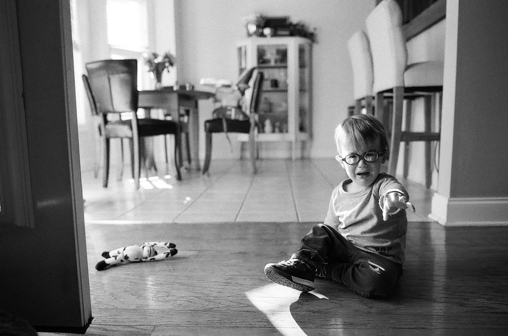 terrible twos in full force. shot on ilford delta 400.