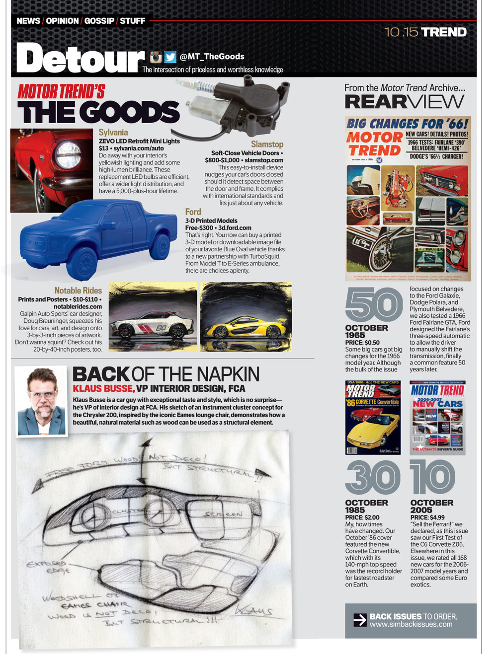 Notable Rides featured in MOTOR TREND (THE GOODS) magazine October 2015