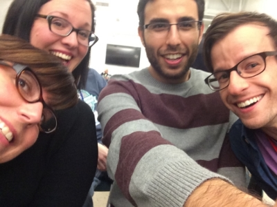 Team selfie before the final pitch at Detroit Startup Weekend 2014.