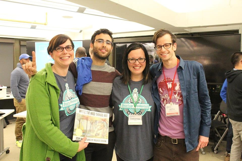 Winners of Detroit Startup Weekend 2014: Team MagicBook! Marjie, Sean, Christina, and Seth.