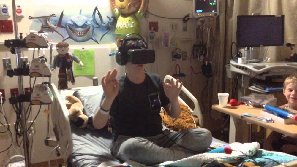 Patient using VR in their room. Photo: C.S. Mott Children's Hospital