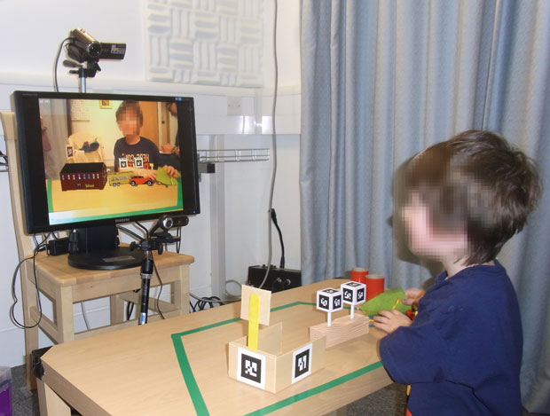 The AR system designed by Zhen Bai to help children with pretend play. Photo: Graphics & Interaction Group/University of Cambridge Computer Laboratory
