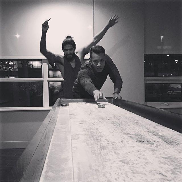 When it snows outside, we play inside! • • • • #acadian #chicago #shuffleboard #gamenight #chicagobands  #rock #dancerock #dancemusic  #poprock #music #creative #chicagomusic #workoutmusic #musiclover #musicians #instamusic #independentartist #music #electronicmusic #black&white #instagood #write #record #fun #friends