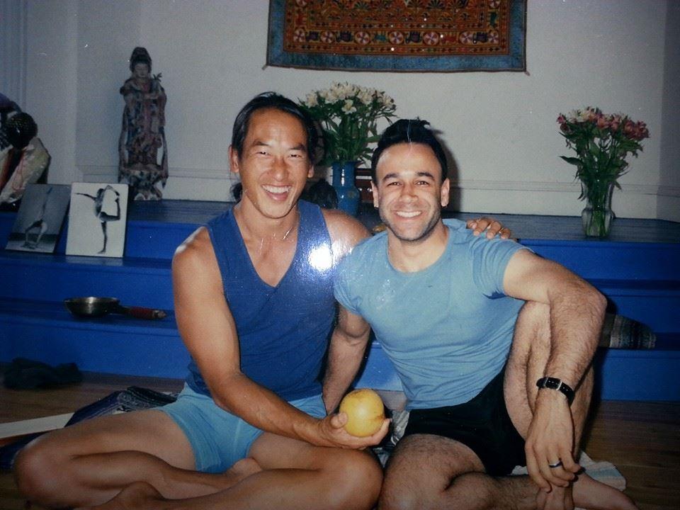 Vivekan with asana mentor Rodney Yee, 2001