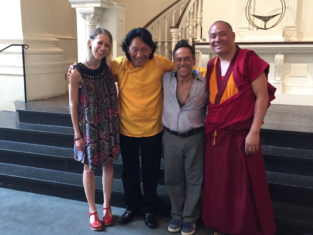 Vivekan with (left to right) Katie Costello, Nawang Khechog and Geshe Lobsang Dhargey, 2015