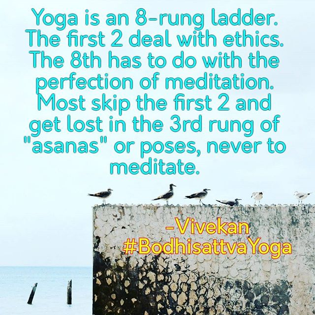 Most of today's yoga enthusiasts are lost on the meaning of Yoga. They get caught on the third rung of an 8-rung ladder and wander about aimlessly and self-inflatedly.  They miss the first and second rungs introducing the topic of discipline, and get lost on the 3rd rung - dealing exclusively with poses - never to make it to the 8th rung, Supreme Meditation.  Don't get lost on the poses! As many of their names indicate, even animals can engage them; but, aside from homo sapiens, animals cannot experience Supreme Meditation, i.e., Yoga. -Vivekan founder of Bodhisattva Yoga