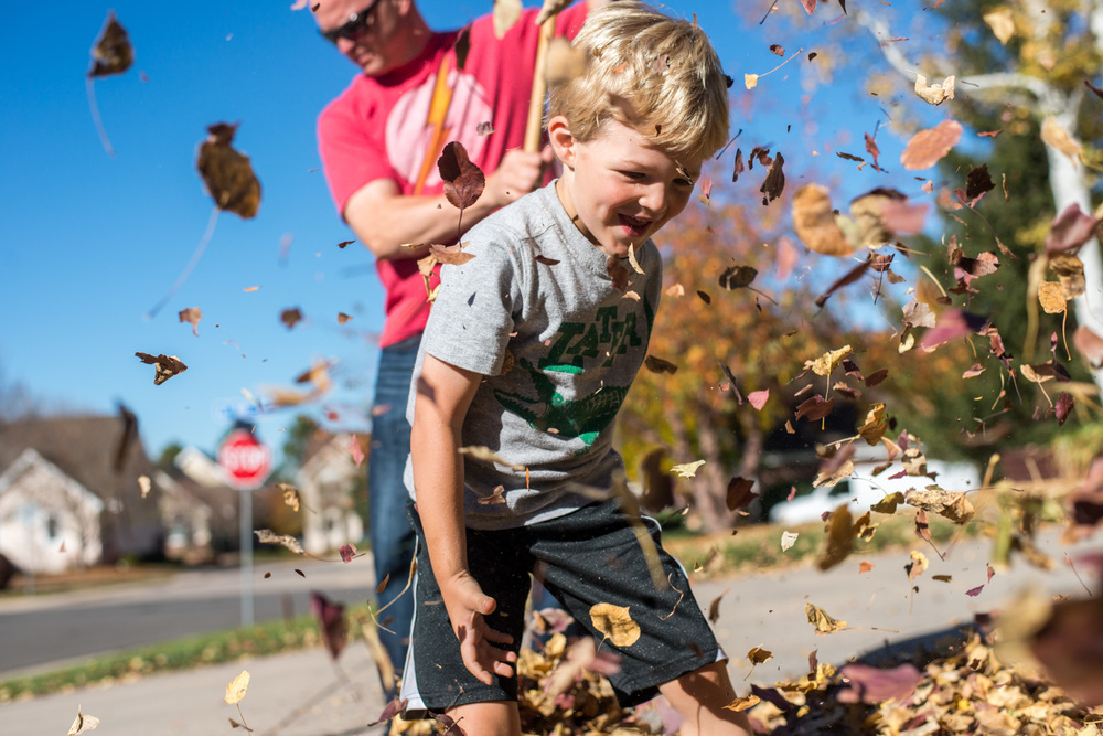 Boy plays in colorado fall leaves during day in the life portrait