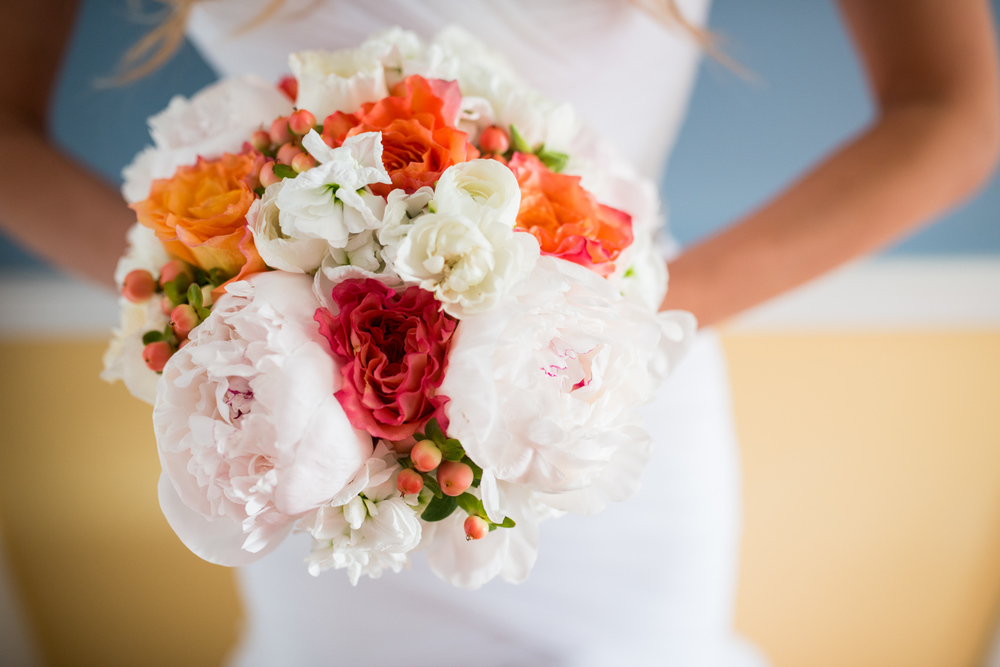 coral pink white bridal bouquet in California