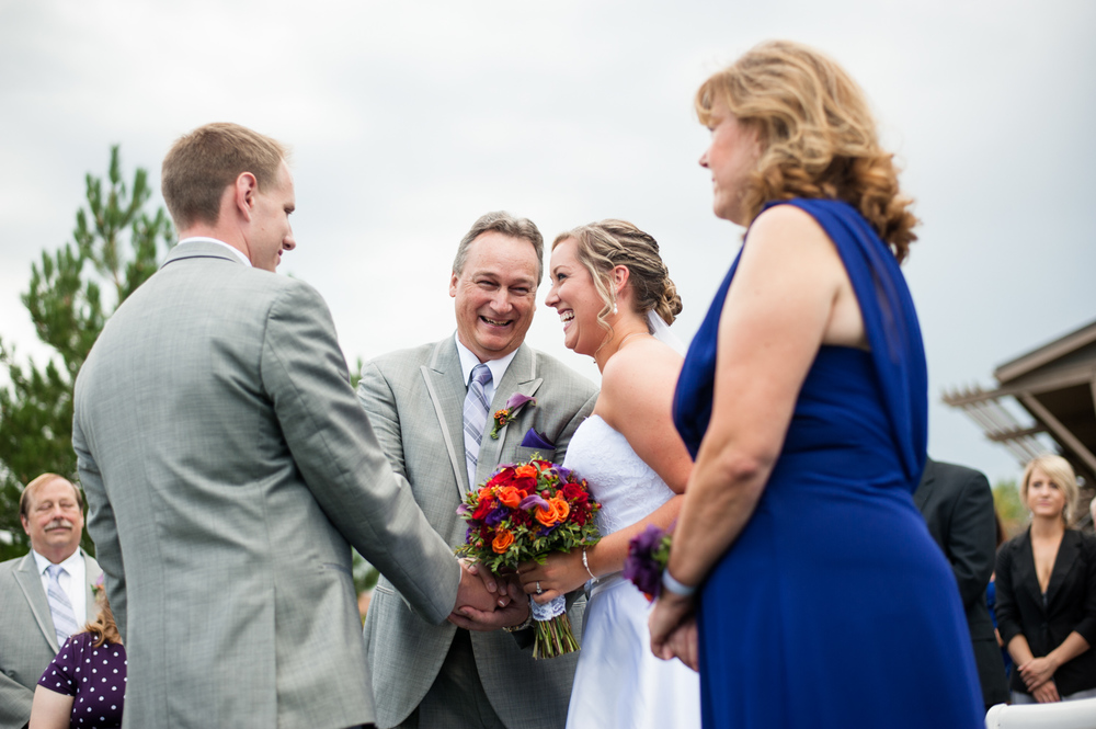 father gives away bride at arrowhead golf course