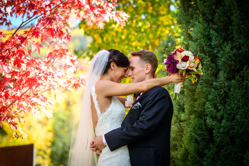 wedding couple near Red and yellow fall trees in Vail