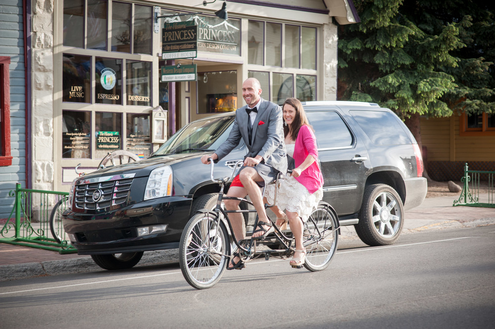 Bride and Groom on tandem Bike in Crested Butte