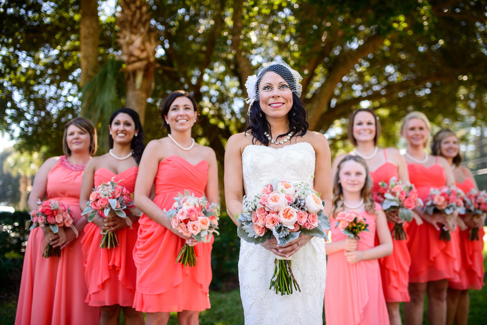 artistic photo of colorful bridesmaids in Georgia