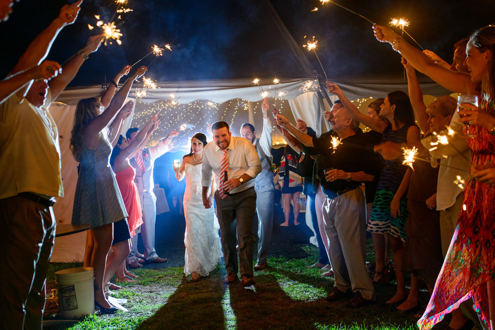 bride and groom sparkler exit Jekyll Island destination wedding