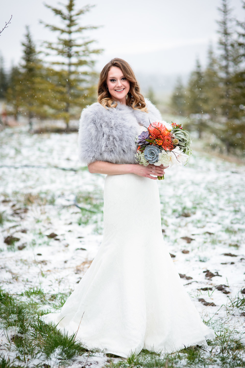 Winter Wedding bridal portrait in Colorado