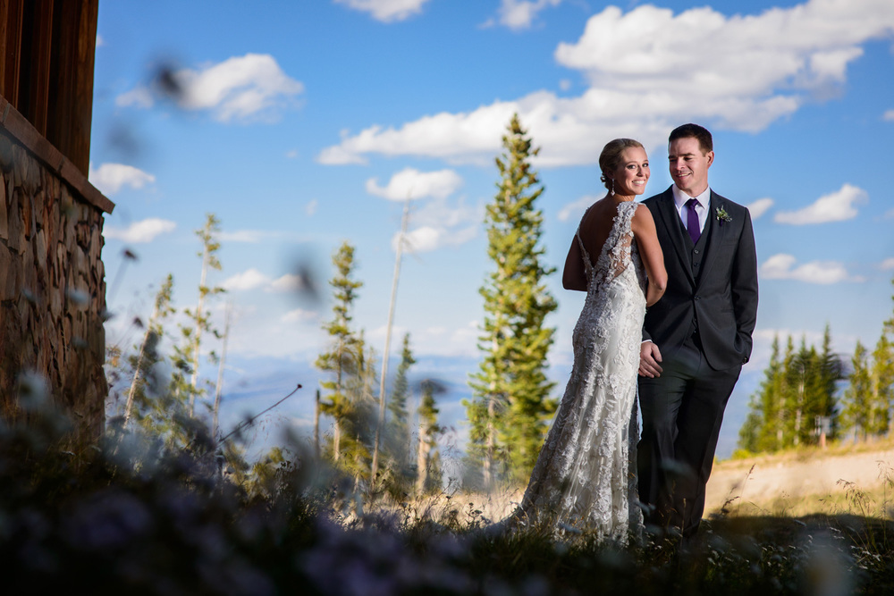 Bride and Groom on top of Winter Park mountain