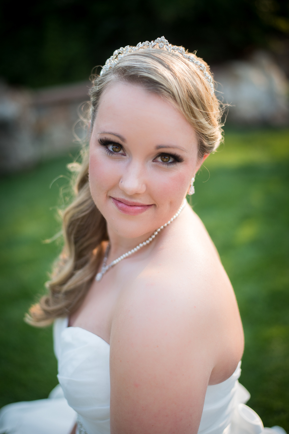 close up Portrait of Bride outside
