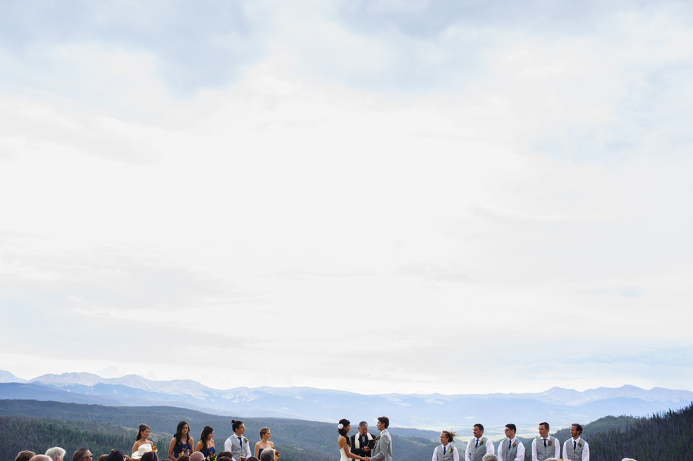 View of mountains from Colorado wedding ceremony