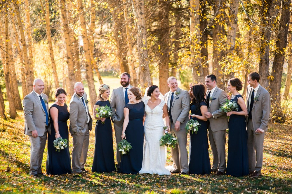 Fall wedding Bridal Party pose in Estes Park